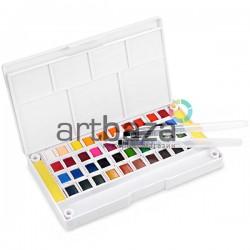 Набор художественных акварельных красок, 40 цветов + палитра + кисти brushpen + спонжи, Superior