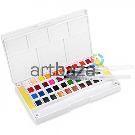 Набор художественных акварельных красок, 40 цветов + палитра + кисти brushpen + спонжи, Superior, арт.: 93366 (6971001793366)