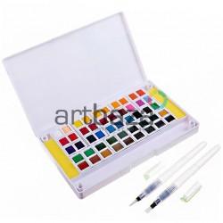 Набор художественных акварельных красок, 48 цветов + палитра + кисти brushpen + спонжи, Superior