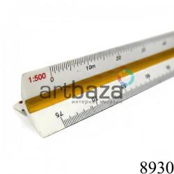 Линейка масштабная трехгранная, 30 см., 6 шкал, BODA