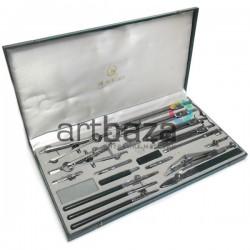 Готовальня профессиональная металлическая, 21 предмет, BODA, арт.: 4021 (2000082378088)