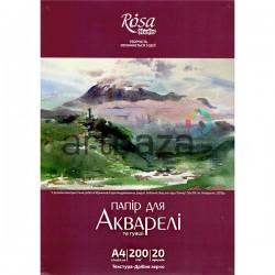 Папка с бумагой для акварели, мелкое зерно, А4 210 x 297 мм., 200 гр./м²., 20 листов, Rosa Studio
