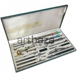 Готовальня профессиональная металлическая, 19 предметов, BODA, арт.: 4019 (2000082378095)