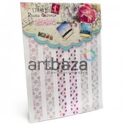 Уголки для альбомов и фотографий в скрапбукинге и кардмейкинге Photo Corners, цвет малиновый голограмма, 78 штук