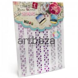 Уголки для альбомов и фотографий в скрапбукинге и кардмейкинге Photo Corners, цвет фиолетовый голограмма, 78 штук