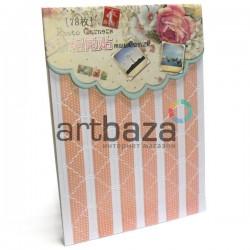 Уголки для альбомов и фотографий в скрапбукинге и кардмейкинге Photo Corners, цвет персиковый в горошек, 78 штук