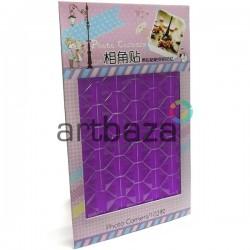 Наклейки - уголки для фотографий самоклеющиеся в скрапбукинге / кардмейкинге Photo Corners, цвет фиолетовый, 102 штуки