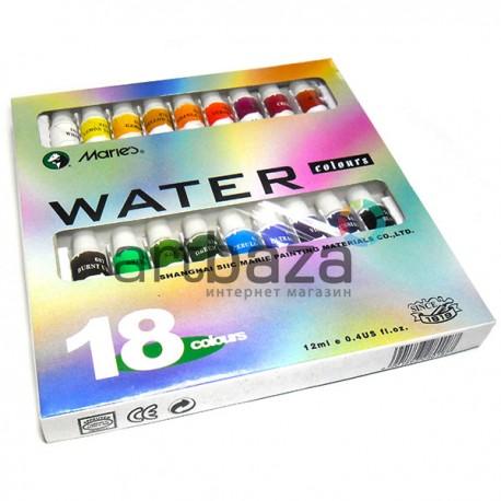 Набор художественных акварельных красок в тубах, 18 цветов по 12 мл., Maries, арт.: W-2018WD (6901893280187)