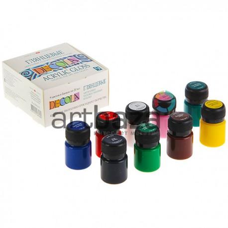 Набор глянцевых акриловых красок, 9 цветов по 20 мл., Decola, арт.: 2941115 (4607010583989)