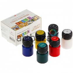 Набор акриловых красок по стеклу и керамике, 6 цветов по 20 мл., Decola