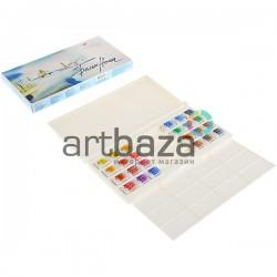 Набор акварельных красок в кюветах, 24 цвета, в пластиковой коробке, Белые Ночи, ЗХК, Невская Палитра