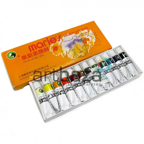 Набор художественных акварельных красок в тубах, 12 цветов по 9 мл., Maries для живописи, арт.: E1306 (6901893200062)