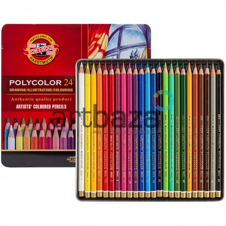 Набор цветных карандашей Koh-I-Noor Polycolor на 24 цвета в металлическом пенале, арт.: 3824 (8593539074816)