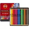 Карандаши цветные, шестигранные, 24 шт., в металлическом пенале, Polycolor, Koh-I-Noor