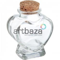 Стеклянная бутылка для жидкости и специй с корковой пробкой (диаметр горлышка 2.2 см., высота 7.3 см.), REGINA
