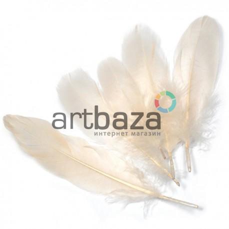 Набор натуральных декоративных перьев, телесных, 20 - 23 см., 5 штук, REGINA