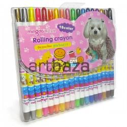 Детские цветные восковые карандаши для рисования, выкручивающиеся, 18 цветов, Rolling Crayon | MD-306-B | 6921969730613