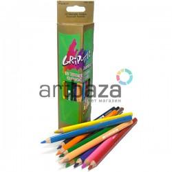 Карандаши цветные для рисования, треугольные, с точилкой, 12 шт., Marco Grip-Rite Jumbo | 9400-12CB | 6951572901834