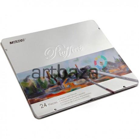 Карандаши художественные акварельные, 24 цвета, шестигранные, в металлическом пенале, Marco Raffine   7120-24TN   6951572901315