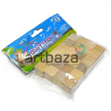 Набор деревянных мини - кубиков для поделок и рукоделия, 1.5 x 1.5 x 1.5 см., 24 штуки, Craft Stick