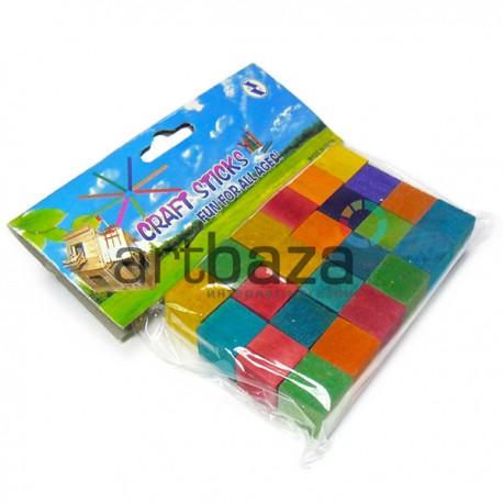 Набор цветных деревянных мини - кубиков для поделок и рукоделия, 1.5 x 1.5 x 1.5 см., 24 штуки, Craft Stick