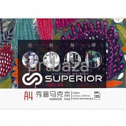 Альбом для спиртовых маркеров MARKER PAD А4, 120 гр./м², 25 листов, склейка, Superior | MK-2188 | 6971001797265