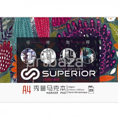 Альбом для спиртовых маркеров MARKER PAD А4, 120 гр./м², 25 листов, склейка, Superior   MK-2188   6971001797265