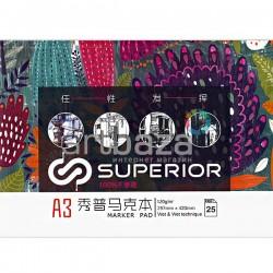 Альбом для маркеров MARKER PAD А3, 120 гр./м², 25 листов, склейка, Superior
