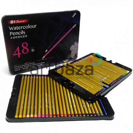 Карандаши акварельные профессиональные, 48 цветов, с кистью, в металлическом пенале, Superior ● MS302-48T ● 6970067235346