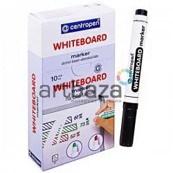 Маркер WhiteBoard для досок чёрный с круглым наконечником, сухостираемый, Centropen ● 8559 ● 8595013615560
