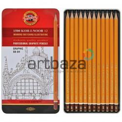Набор карандашей чернографитных, GRAPHIC HARDTMUTH, 1500 5B-5H, Koh-I-Noor