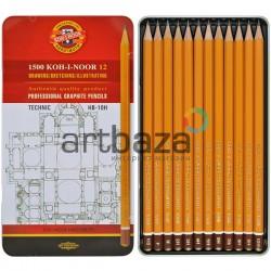 Набор карандашей чернографитных, TECHNIC HARDTMUTH, 1500 HB-10H, Koh-I-Noor