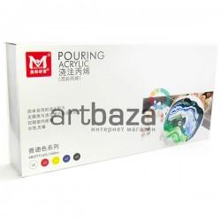Набор художественных жидких акриловых красок для Fluid Art - а, 5 цветов по 100 мл. ● PMA06100A ● 6949905292445