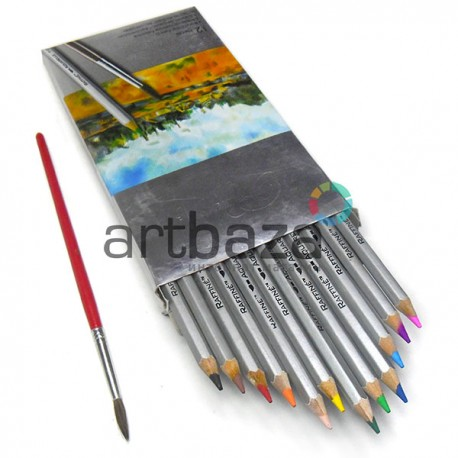 Карандаши акварельные с кисточкой, 12 цветов, шестигранные, Marco Raffine ● 7120-12CB ● 6951572903425