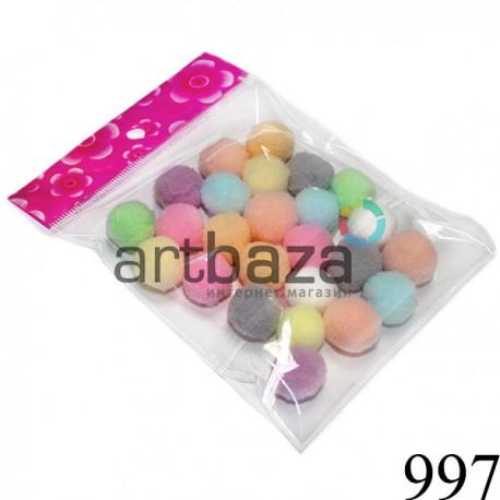 Набор декоративных помпонов для творчества и поделок, цветных, Ø1.5 см., REGINA ● 997 ● 2000740230710