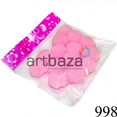 Набор декоративных помпонов для творчества и поделок, розовых, Ø3 см., REGINA ● 998 ● 2000740230727