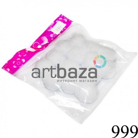 Набор декоративных помпонов для творчества и поделок, белых, Ø3 см., REGINA ● 999 ● 2000740230734