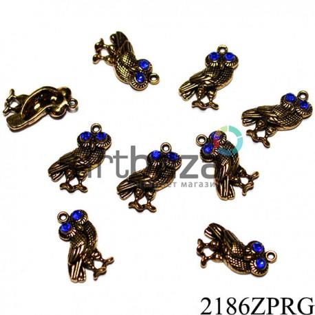 """Металлическая подвеска """"Птица с синими глазами"""" для скрапбукинга, декора и handmade браслетов, 17 x 14 мм."""