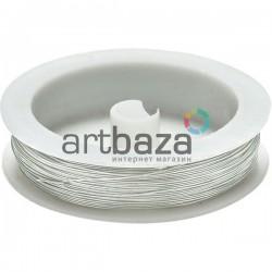 """Цветная медная ювелирная проволока для бисера и бижутерии, цвет """"серебро"""" (Ø0.4 мм., 8.5 м.)"""