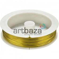"""Цветная медная ювелирная проволока для бисера и бижутерии, цвет """"золото"""" (Ø0.4 мм., 8.5 м.)"""
