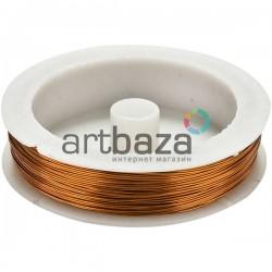 """Цветная медная ювелирная проволока для бисера и бижутерии, цвет """"медь"""" (Ø0.4 мм., 8.5 м.)"""