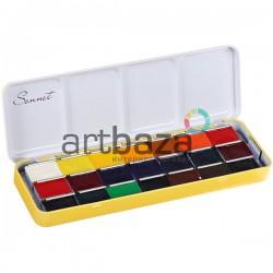 Набор акварельных красок в кюветах, 21 цвет, металлический пенал, Сонет, ЗХК, Невская Палитра