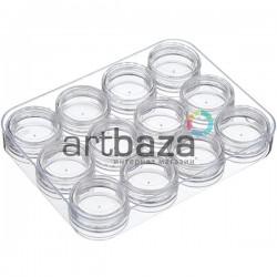 Прозрачная пластиковая баночка - закрутка с крышкой (тара для краски), Ø3 см., высота 1.8 см., 5 мл., REGINA