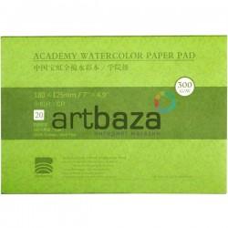 Альбом - склейка бумаги для акварели, 125 x 180 мм., 300 гр/м², 20 листов, Baohong ● среднезернистая ● 100% хлопок