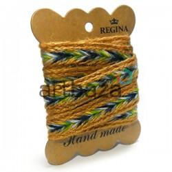 Джутовая тесьма, плетеная натуральная горчичная, ширина - 2 см., толщина - 2 мм., длина - 1 м., REGINA