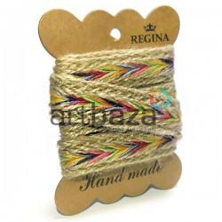 Джутовая тесьма, плетеная натуральная светлая, ширина - 2 см., толщина - 2 мм., длина - 1 м., REGINA