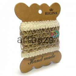 Джутовая сетка, плетеная натуральная пеньковая, ширина - 4.5 см., толщина - 2 мм., длина - 1 метр, REGINA