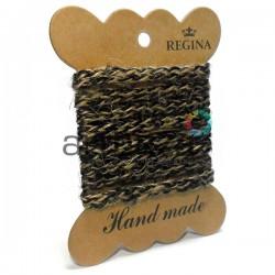 Джутовая тесьма, плетеная натуральная с переплетенной черной нитью, ширина - 0.6 см., толщина - 2 мм., длина - 1 м., REGINA