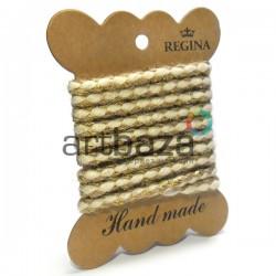 Джутовая тесьма, плетеная натуральная с переплетенной золотой нитью, толщина 0.7 см., длина - 1.2 м., REGINA