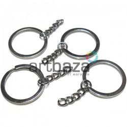 Набор металлических колец для ключей и брелков, ∅3 см. с цепочкой 2.8 см., 4 штуки, REGINA